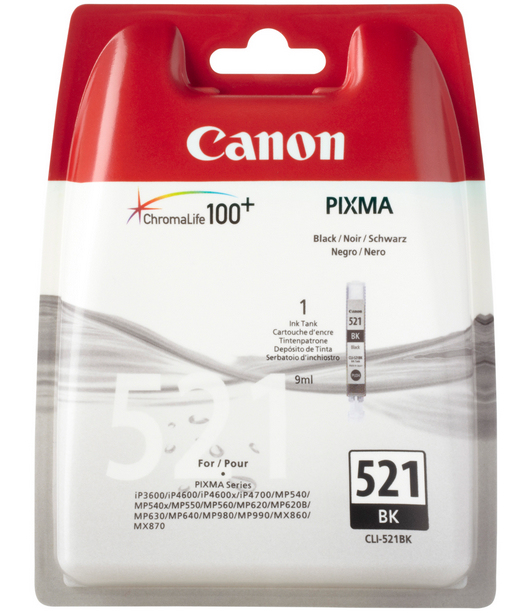 Canon 2933B001 Photo Black  Inkjet Cartridge (665 σελίδες) CLI-521