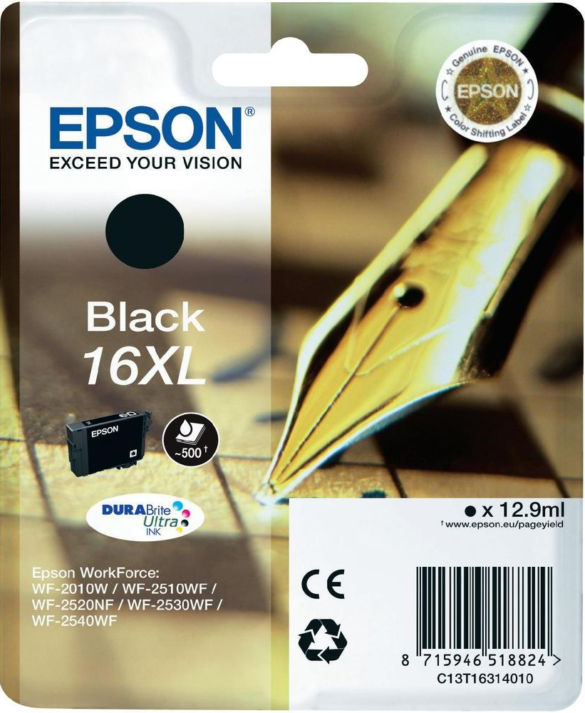Epson C13T16314012 Black  Inkjet Cartridge (500 σελίδες) T01631