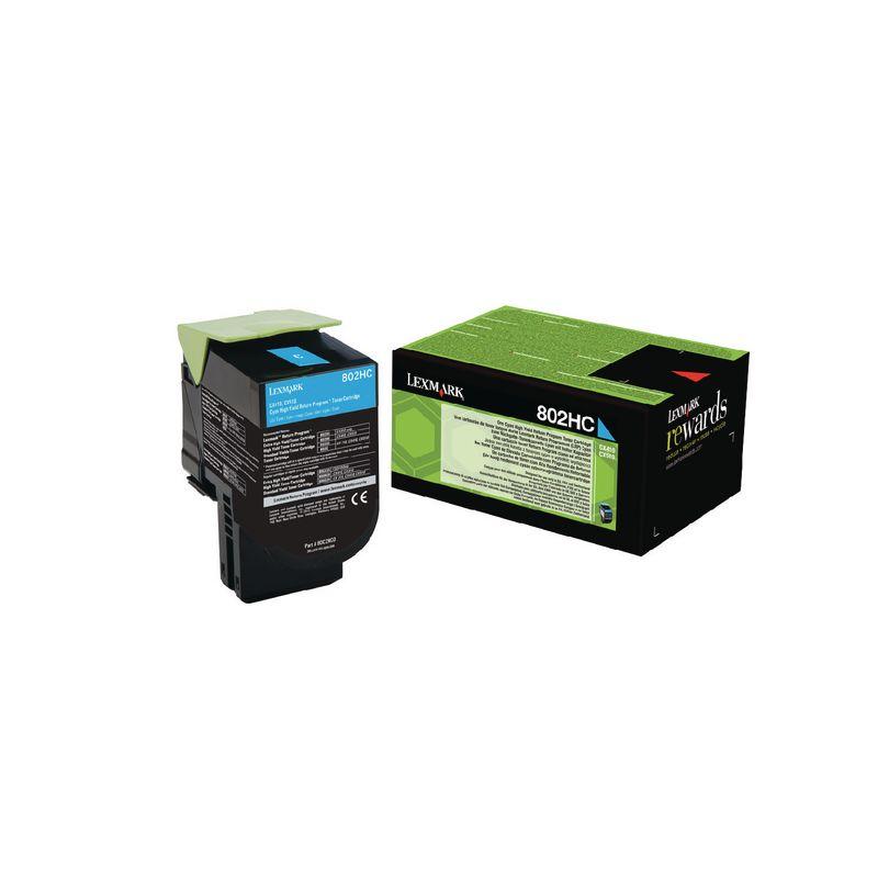 Lexmark 80C2HC0 Cyan Laser Toner  802HC